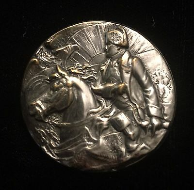 Beautiful! Vintage Nickel Over Brass Button Of Napoleon Mounted On Horse