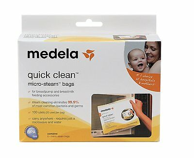 Medela Quick Clean Microwave Micro-Steam Breastfeeding Sterilisers Bags 5 in Box
