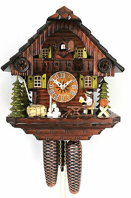 cuckoo clock black forest 8 day original german wood chalet style mechanical new