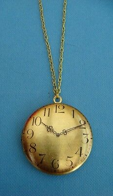 Clock Face Vintage Brass Locket Gold Plated Chain Pendant Necklace Handmade Item