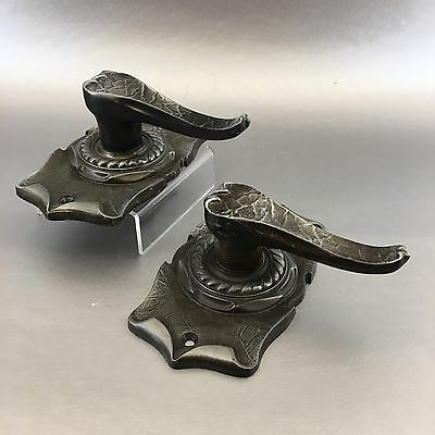 2 Vintage Amerock Carriage House  Dummy Closet Door Knobs Levers Antique Brass