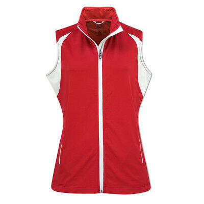 Sunderland Ladies Fleece Gilet with 4-Way Stretch in Cherry Red/Silver