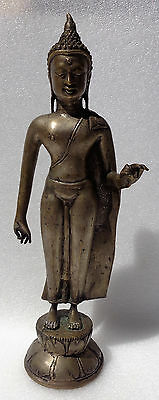 INDONESIA: Fine and old bronze standing Buddha figure - Thai style