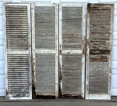 SET / FOUR Antique WHITE Rustic Shabby Chippy Wood Shutters Architectural 18x67