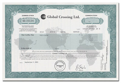 Global Crossing Ltd. Stock Certificate (Part of the Internet Bubble/Collapse)