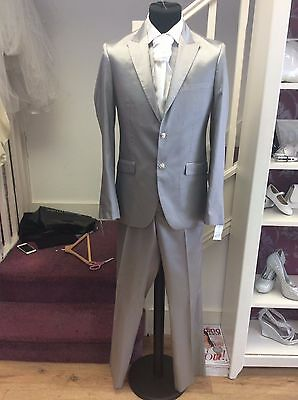 Beautifuldark  Silver Wedding/prom Suit By Robelli  40 Regular