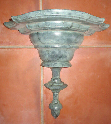 Vintage Large Italian Marble Faux Finish Carved Wood Wall Sconce Shelf