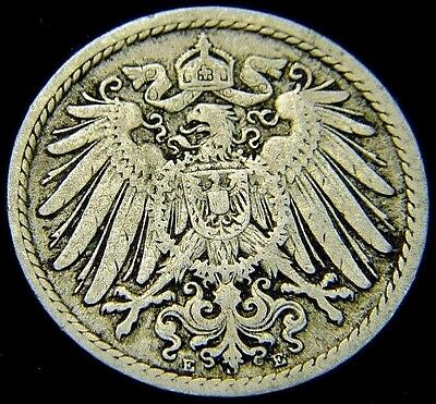 Germany 1900 - E 5 Pfennig German Empire Coin (Rl#1642)  117 Years Old