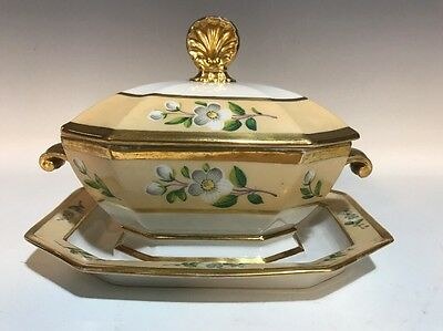 19C French Old Paris Porcelain HP Gilt Sauce Tureen-Attached Underplate #2