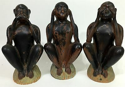 Vtg 3pc Unique Ceramic Monkey Hear See Speak No Evil Statue Sculpture Figurines