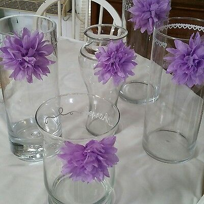 Wedding Vases Centerpieces 5 Total Clear With Lavender Flowers