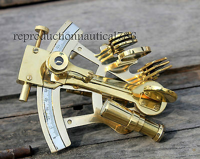 Shiny Brass Marine Sextant Collectible Maritime Nautical Sextant Desk Top Decor