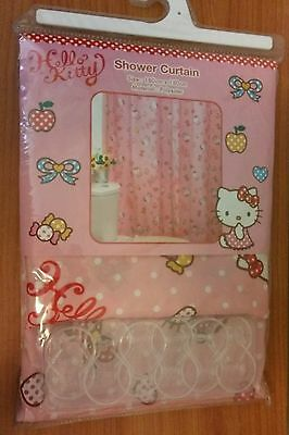 Hello Kitty Sanrio Pink w/ White Polka Dots Shower Curtain NEW