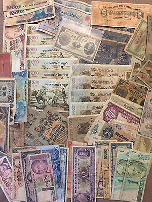 Collector Lot 80+ of Genuine Circulated Foreign Banknotes  world germany/china +