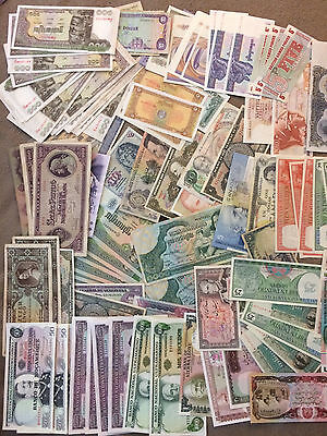 Collector Lot 150+ of Genuine UNC Foreign Banknotes  world many countries