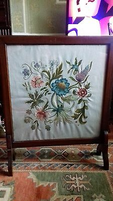 Mahogany Glass  Framed Embroidered Fire Screen