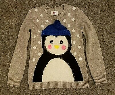 Justice Girls Silver Gray Penguin Sweater size 10