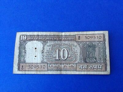 Reserve Bank Of India Note 10 Rupees Governor Sail Boat Lion Paper Currency Nice