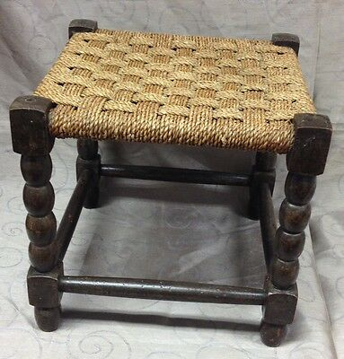 Antique Vintage Rush Seated Stool