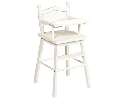 Doll High Chair in White Doll Furniture Toys For Girls Imaginative Play Children