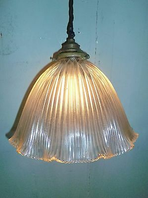 A Single Edwardian Antique Brass Gallery Holophane Ceiling Lamp Pendant Lights