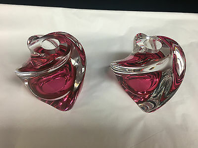 Pr. Beautiful Signed Val St. Lambert Crystal Candle Holders Cranberry-Clear