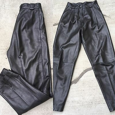 "Vintage High Waist Black Leather Pants VTG Sz 10 27"" Waist 1980s"