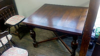 1930's drawer leaf dining table and later carver chairs