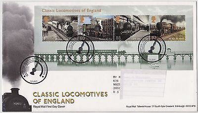 2011 FDC  Classic Locomotives of England  MS