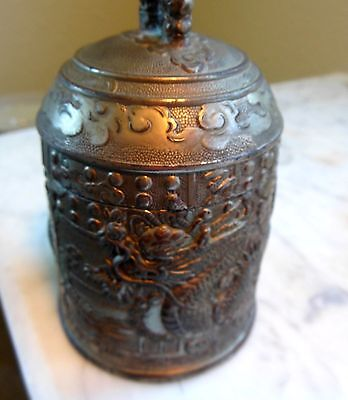 RARE Antique Chinese  Pewter Handmade Tea Caddy Dragon Design