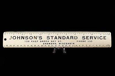 "Vintage Advertising - Shawano WI - Johnson's Standard Service 12"" Metal Ruler"