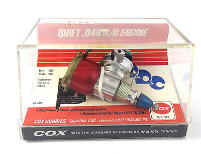 NEW OLD STOCK Cox QUIET .049 R/C QRC Model Airplane Engine No. 450-1 Display