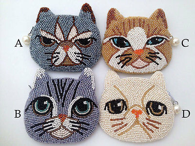 Pussy-Cat Design Bead Embroidery Zipper Coin Purse
