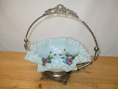 c1900 VICTORIA SILVER PLATED FOOTED BRIDES BASKET FLUTED BLUE GLASS PAINTED BOWL