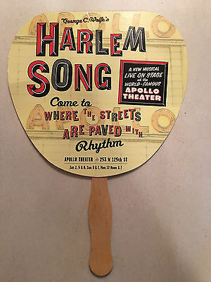 """Vintage paper advertising hand fan Stage Play """"Harlem Song"""" Apollo Theatre"""