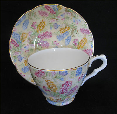 Vintage Collingwood Pottery Cup & Saucer – Chintz Floral Pattern