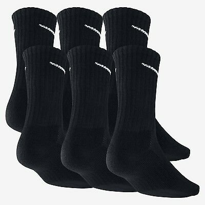 Nike Performance Cotton Cushioned Crew Socks, , 6 pairs/pack, Black, SIZE 8-12
