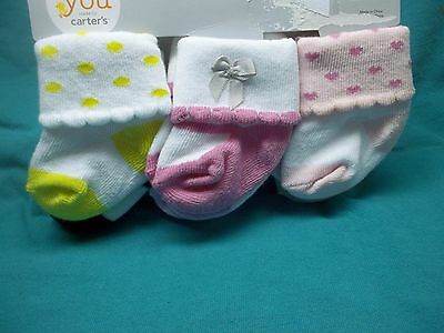 New Carter's Just One You Newborn Baby girl Socks Set  6 pack 0-3 months So SOFT