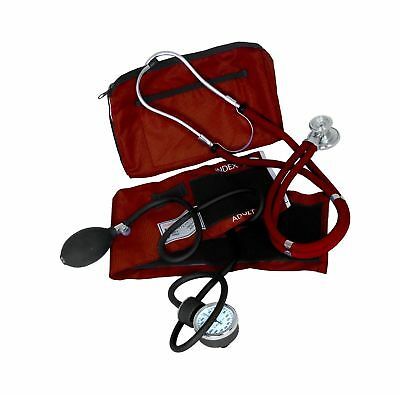 Dixie EMS Blood Pressure and Sprague Stethoscope Kit Burgundy