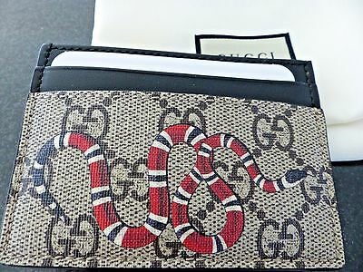 NEW Gucci Supreme Canvas Snake Print GG Card Wallet Case with Receipt Sold Out