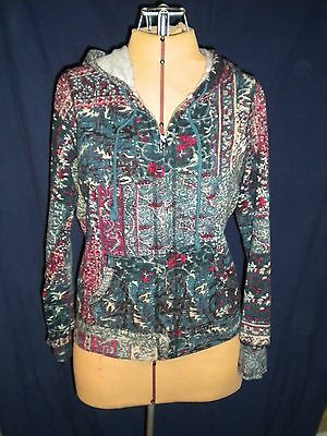 Lucky Brand Women's  Multicolor Floral Full Zip Hoodie, Size Small   EUC