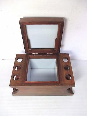 Vintage Wood 6 Tobacco Pipe Stand & Humidor With Brass Plate For Engraving