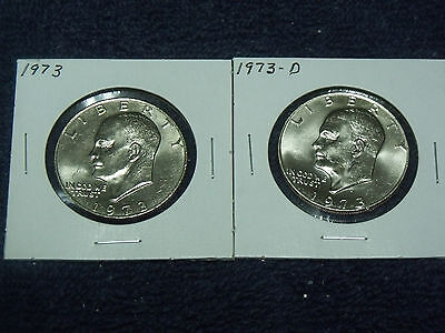 1973-P & D Eisenhower Dollars ( 2 coins)  Choice Uncirculated   Key Date