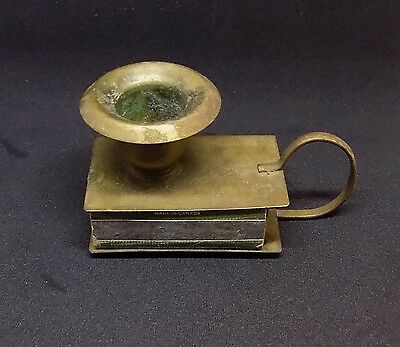 Vintage BRASS CANDLE HOLDER With Matchbox Holder & Handle Free Shipping!
