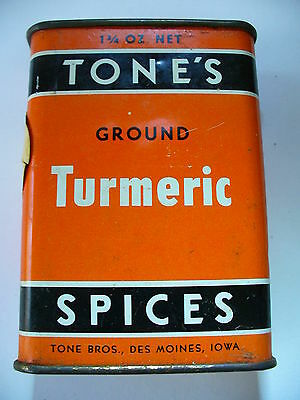 Vintage TONE'S TURMERIC Metal Spice Tin - Stamped 21 Cents