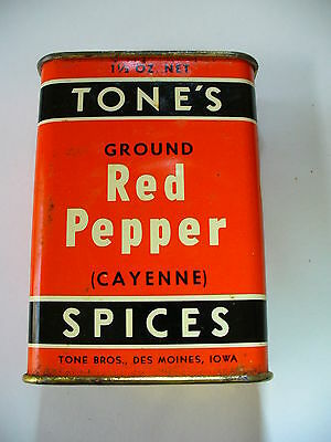 Vintage TONE'S CAYENNE RED PEPPER Spice Tin - 1 1/2 Oz. - Marked 25 Cents