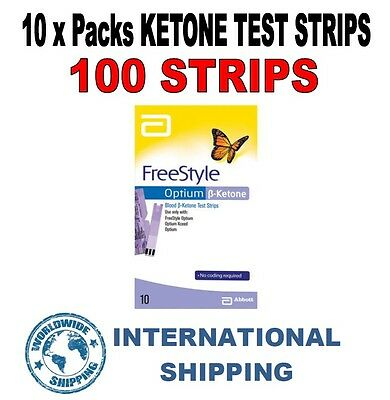 Abbott Freestyle Optium Ketone Strips - 10 PACKS = 100 STRIPS *PRECISION XTRA* ^
