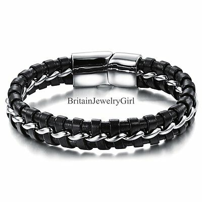 """8"""" Mens Black Leather Braided Cuff Bracelet Silver Tone Stainless Steel Bangle"""