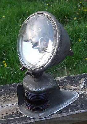 Vintage Perko Boat Bow Light Nautical w/ Spot Light Top Blue Red Glass
