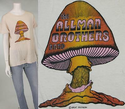 70s Vintage The Allman Brothers Band Mushroom Rock Concert Tour Tee T Shirt